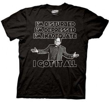 Seinfeld Disturbed Depressed Inadequate Black Mens T-Shirt