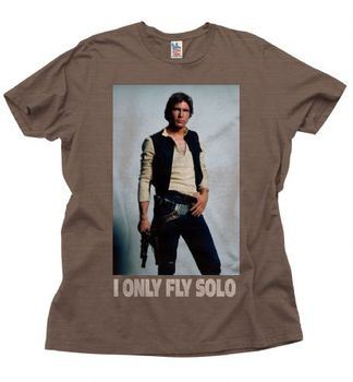 Junk Food Star Wars Han Solo I Only Fly Solo Adult Brown T-Shirt
