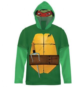 Teenage Mutant Ninja Turtles Green Costume T-shirt with Hood