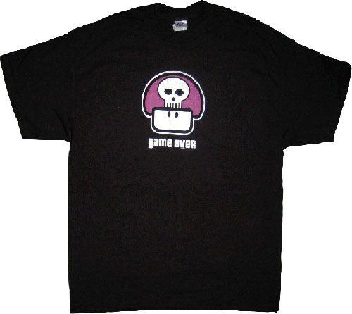 Nintendo Game Over Purple Poison Mushroom Black Adult T-shirt
