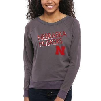 Nebraska Cornhuskers Women's Crazy Love Boat Neck Long Sleeve T-Shirt – Charcoal