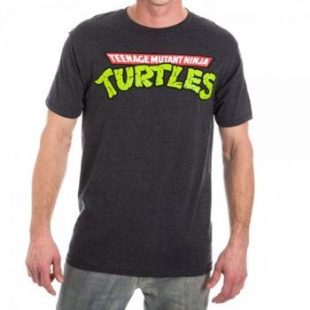 TMNT Teenage Mutant Ninja Turtles Logo Adult Charcoal Heather T-Shirt