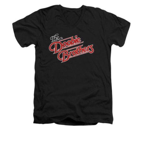 The Doobie Brothers Shirt Slim Fit V-Neck Logo Black T-Shirt