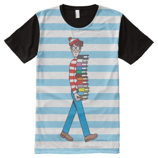 Where's Waldo Carrying Stack of Books All-Over Print Shirt