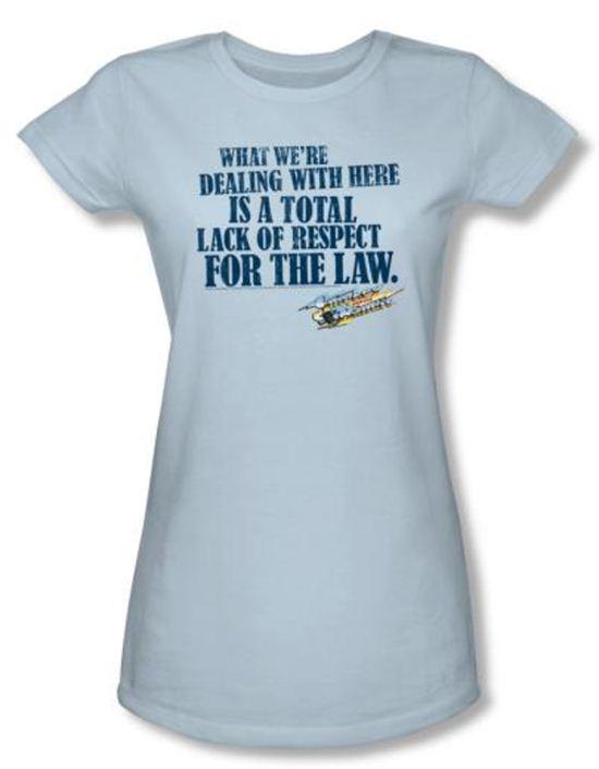 Smokey And The Bandit Juniors T-shirt Lack Of Respect Light Blue Shirt