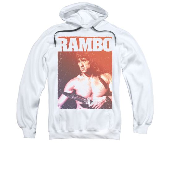 Rambo III Hoodie Sweatshirt Creep White Adult Hoody Sweat Shirt