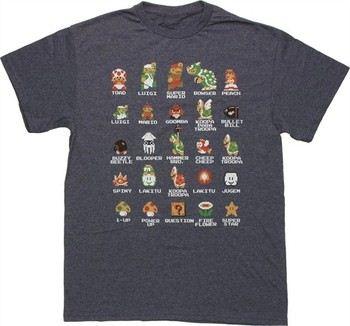 Nintendo Super Mario Bros Pixel Cast Navy Blue T-Shirt