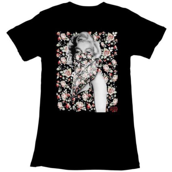 Marilyn Monroe Shirt Juniors Flowers Black T-Shirt