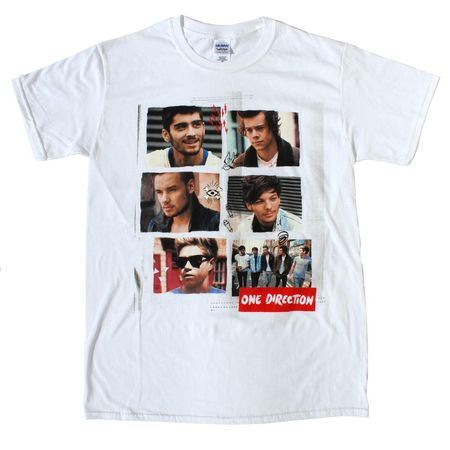 One Direction: One Direction Individual Shots White T-Shirt - Small