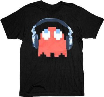 Pac-Man Red Ghost Headphones Black Adult T-shirt
