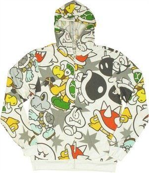 Nintendo Super Mario Bros Enemies Outline Some Color Full Zipper Hooded Sweatshirt