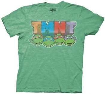 Teenage Mutant Ninja Turtles TMNT Colored with Faces Green Heather Mens T-Shirt