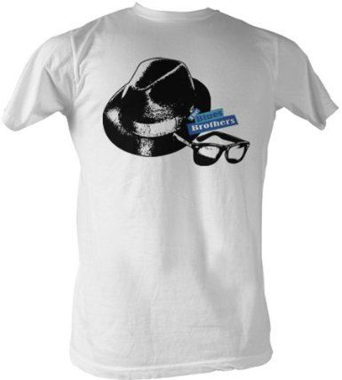 The Blues Brothers Hat & Glasses White Adult T-shirt