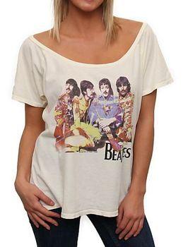 Junk Food The Beatles Sitting Pose Flirt Off The Shoulder Sugar Cream Juniors T-shirt