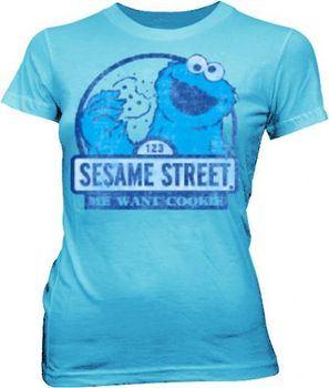 Sesame Street Cookie Monster Me Want Cookie Light Blue Juniors T-shirt