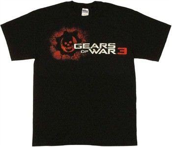 Gears of War 3 Cracked Crimson Omen Skull Logo T-Shirt