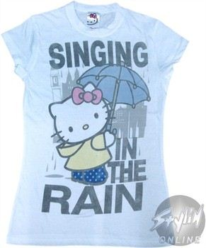 Hello Kitty Singing in the Rain Baby Doll Tee by Mighty Fine