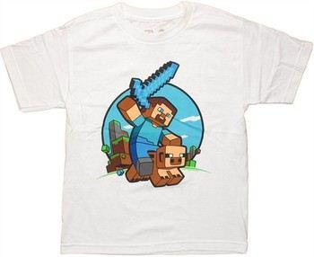 Minecraft Saddled Pig Ride Youth T-Shirt