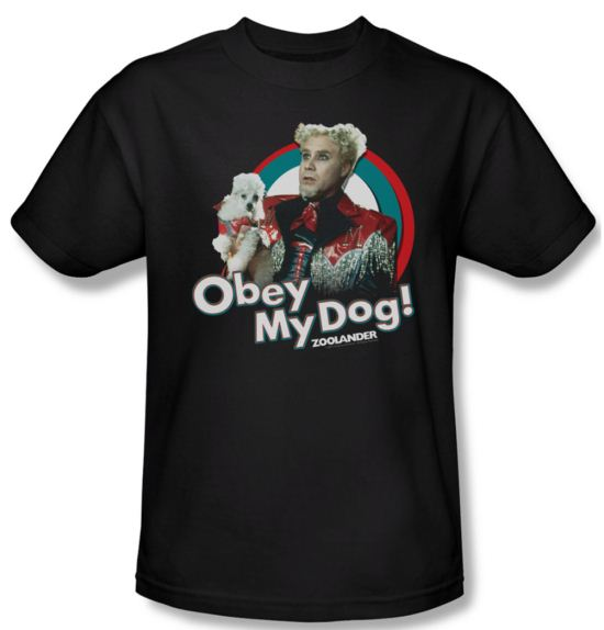 Zoolander Shirt Obey My Dog Adult Black Tee T-Shirt
