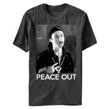 Napoleon Dynamite Kip Peace Out Adult Charcoal T-Shirt