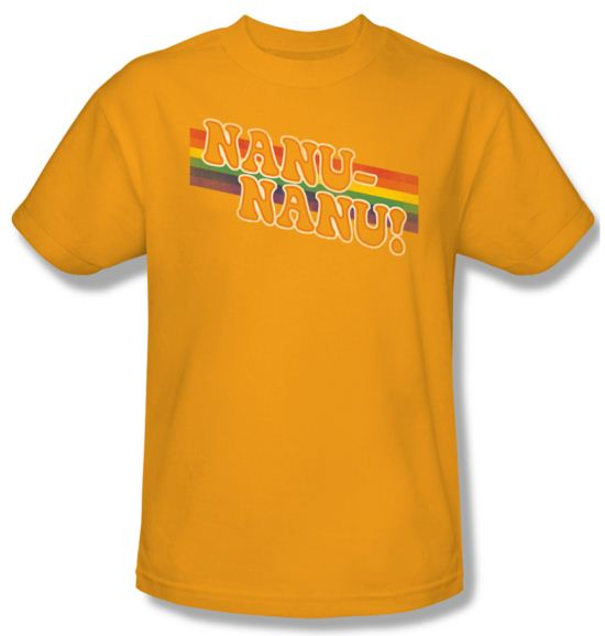 Mork & Mindy Shirt Nanu Rainbow Adult Gold Tee T-Shirt