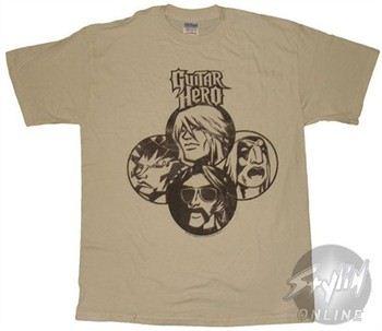 Guitar Hero Four Faces Beige T-Shirt