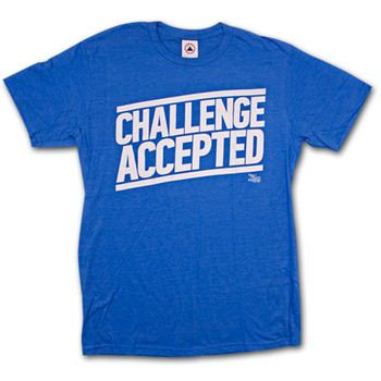How I Met Your Mother Challenge Accepted Blue Graphic Tee Shirt