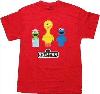 Sesame Street Pixel Trio Red T-Shirt