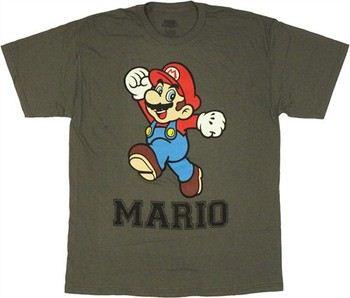Nintendo Super Mario Jump Fist Up Charcoal T-Shirt