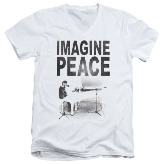 John Lennon Slim Fit V-Neck Shirt Imagine White Tee T-Shirt