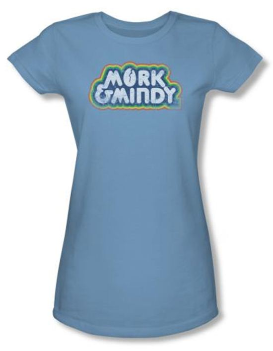 Mork and Mindy Juniors Shirt  Distressed Logo Carolina Blue T-Shirt