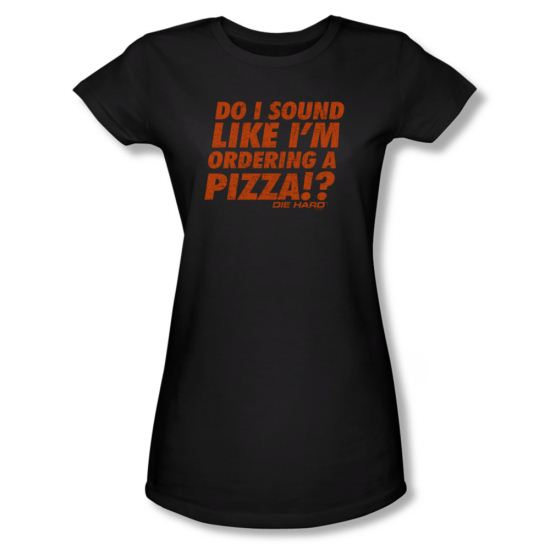 Die Hard Shirt Juniors Pizza Black Tee T-Shirt