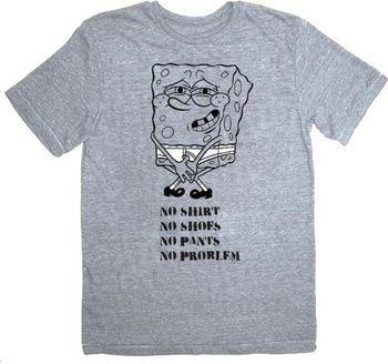 Spongebob Squarepants No Problem Heather Gray Adult T-Shirt Tee