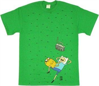 Adventure Time Finn Jake Grass Scene T-Shirt
