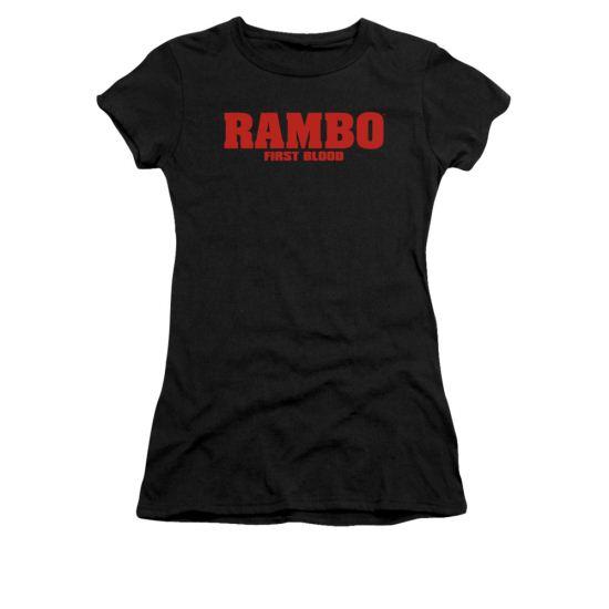 Rambo First Blood Shirt Juniors Logo Black Tee T-Shirt