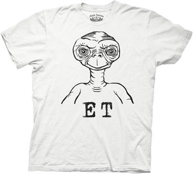 E.T. Sketch Image White Adult T-shirt