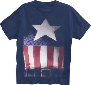 Captain America Faded Belt Print Costume Navy Adult T-shirt