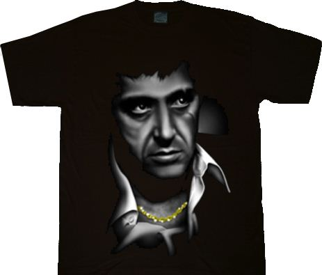 19f778505 ... Scarface Black and White Airbrush Portrait T-shirt