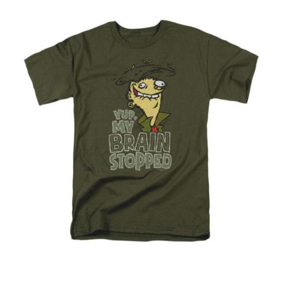 Ed, Edd N Eddy Shirt Brain Dead Ed Adult Military Green Tee T-Shirt