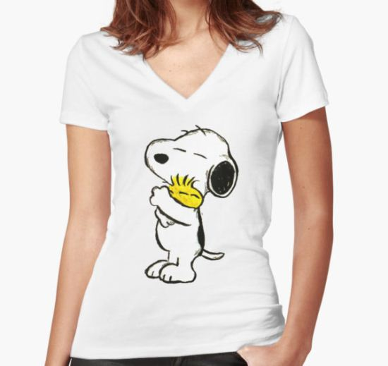 Snoopy and Woodstock Women's Fitted V-Neck T-Shirt by Craig McEwan T-Shirt