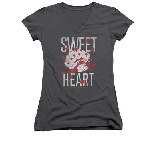 Strawberry Shortcake Shirt Juniors V Neck Sweet Heart Charcoal Tee T-Shirt