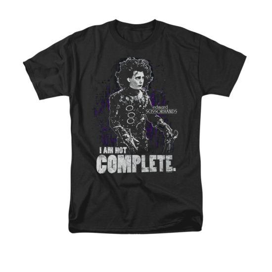 Edward Scissorhands Shirt Not Complete Adult Black Tee T-Shirt