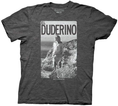 The Big Lebowski El Duderino Adult Heather Charcoal T-shirt
