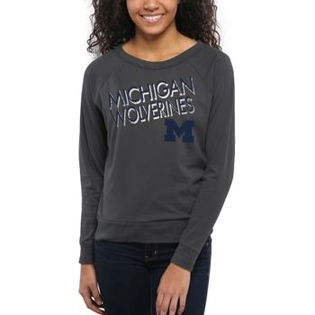 Michigan Wolverines Women's Crazy Love Boat Neck Long Sleeve T-Shirt – Charcoal