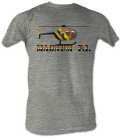 Magnum PI T-shirt Chopper Toon Adult Heather Grey Tee Shirt