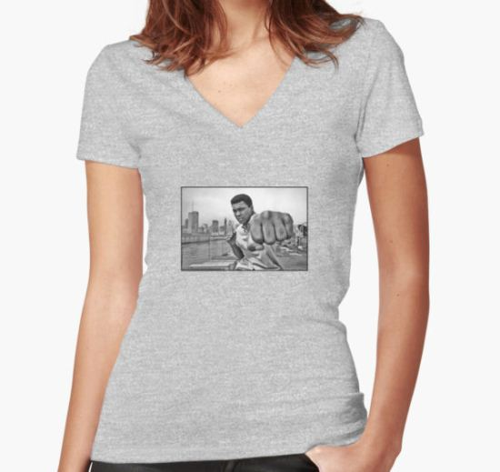 Muhammad Ali Women's Fitted V-Neck T-Shirt by Olyw3r T-Shirt