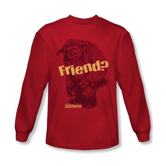 Labyrinth Shirt Ludo Friend Long Sleeve Red Tee T-Shirt