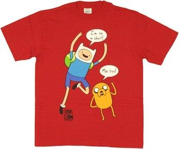 Adventure Time Finn Jake I'm On a Shirt Me Too Speech Bubbles Red Youth T-Shirt