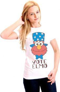Sesame Street Vote Elmo President Hat Juniors White T-Shirt