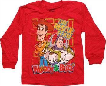Disney Toy Story Rescue Team Red Long Sleeve Juvenile T-Shirt